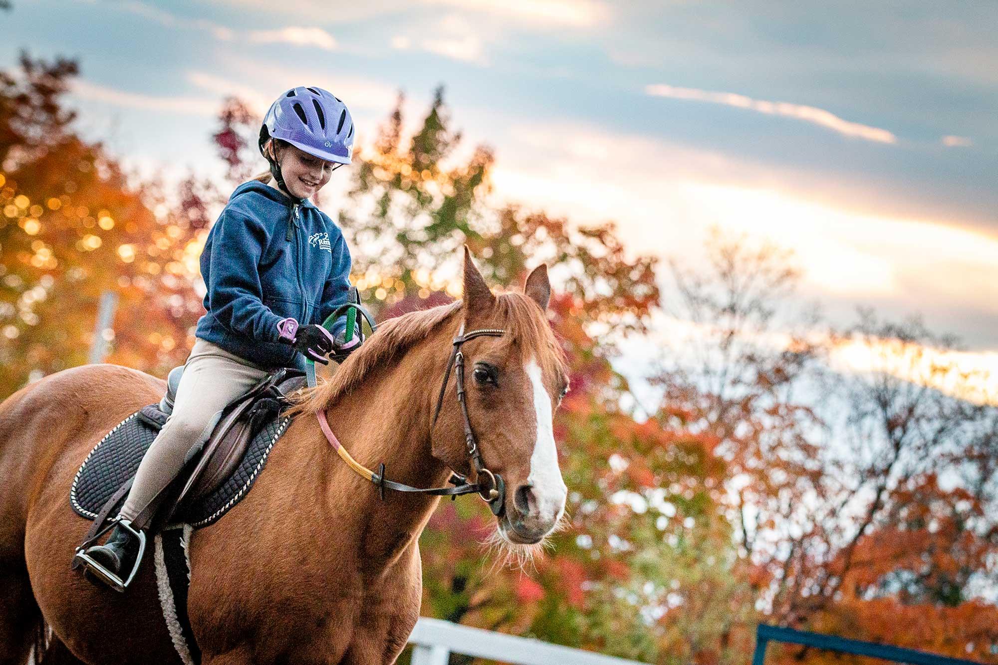 Jeune fille sur un cheval arabe